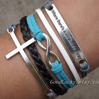 Self-improvement infinity wish Lovers Bracelet--silver 8 infinity wish,cross bracelet--grey,white,blue wax rope,black Leather bracelet
