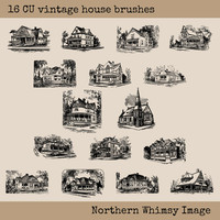 Vintage House Clip Art Set – 16 PNG clip art house images plus photoshop ABR brushes – House Stamp Set – instant download – commercial use
