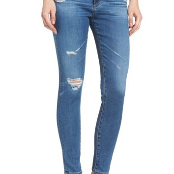 AG The Farrah High Waist Ankle Skinny Jeans (14 Year Blue Nile Destructed) | Nordstrom