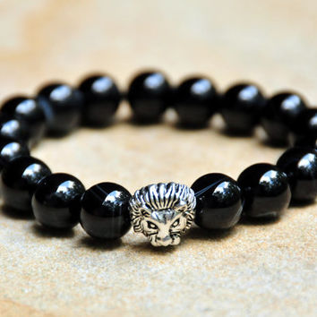 10mm Black Onlyx Beads with Lion Spacer Bead - Men's Custom Fit Bracelet