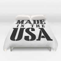 Made in the USA - black text Duvet Cover by RQ Designs (Retro Quotes)