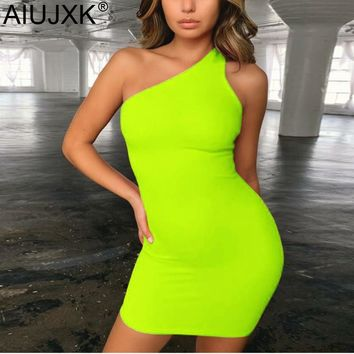 AIUJXK New Arrival One Shoulder Backless Dress Women Sleeveless Summer Neon Bodycon Sexy Mini Party Short Dresses Woman