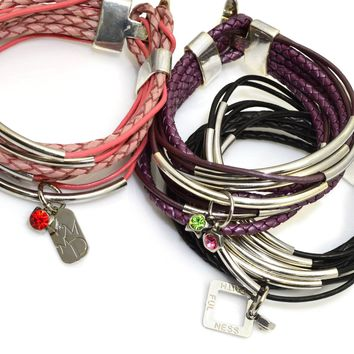 Thin/Braided Leather Wrap Bracelet with Silver Tube Beads and Silver Toggle Clasp-Pick Your Color-Add Charms