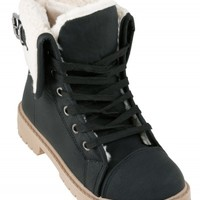 Black Cuff Fur Lace Up Ankle Boots | Shoes | Desire