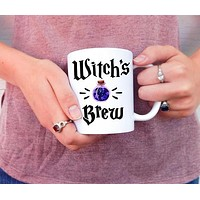 Witch's Brew Coffee Mug in White with Purple Potion