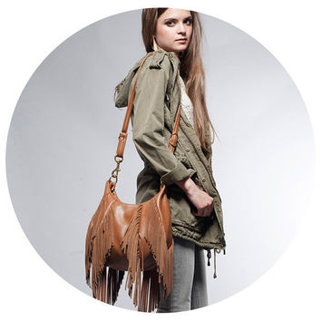 Fringe Leather Bag - OPELLE Nautilus Bag - Soft Pebbled Leather w Fringe in Fawn