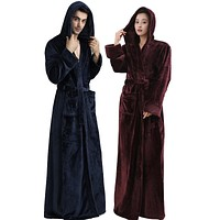 Men Women Hooded Plus Size Extra Long Warm Bathrobe Winter Thickening Flannel Thermal Bath Robe Male Robes Mens Dressing Gown