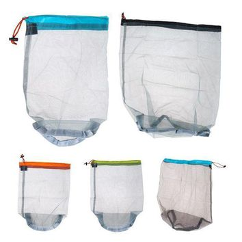 ICIK7N3 1Pc Ultralight Sports Bag Outdoor Mesh Sack Bags Camping Storage Bags Drawstring Pouch For Sleeping Bag