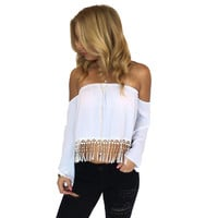 Bischoff Fringe Top In White
