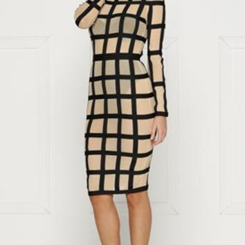Making Headlines Nude Black Sheer Mesh Geometric Grid Long Sleeve Scoop Neck Bodycon Midi Dress