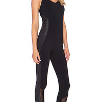 Rebel Unitard in Black & Black Glossy