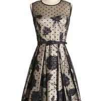 ModCloth Vintage Inspired Long Sleeveless A-line Leave Them Breathless Dress in Monochrome