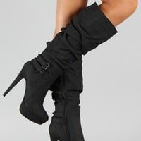 Wild Rose Gilly-45 Slouchy Buckle Knee High Boot