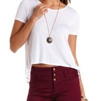 Embroidered Mesh-Trim Flyaway Tee by Charlotte Russe