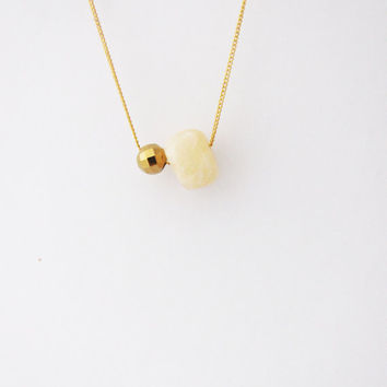 Modern minimalistic necklace.   Gemstone necklace