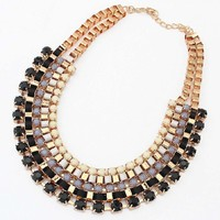 Yazilind Shiny Rhinestone Inlay Golden Alloy Adjustable Layered All-Match Bib Statement Necklace