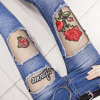 Fashion Ripped High Waist Rose Embroidery Pants Trousers Jeans