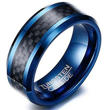 8mm Blue Tungsten Carbide Ring Black Carbon Fibre Inlay Fashion Vintage Wedding Engagement Band