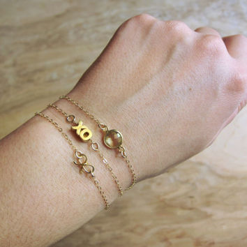 Cute 14k Gold Filled XO Bracelet - Minimalist, Stacked, Layered - Everyday Style