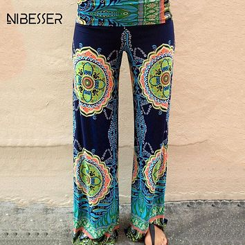 NIBESSER 2017 New Summer Printed Wide Leg Pants Women Low Waist  Long Trousers Plus Size Palazzo Pants Casual Beach Pantalones