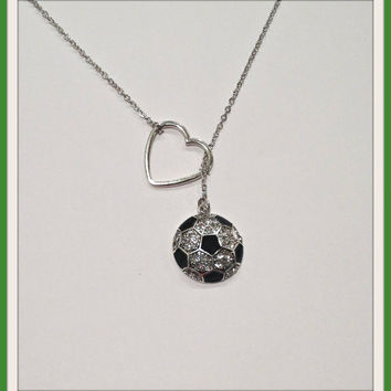 Soccer Necklace with Rhinestones and Heart, handmade jewelry