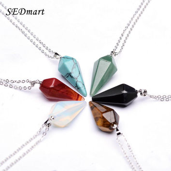 Women's Silver Tone Natural Gem Hexagon Pyramid Reiki Healing Charm Necklace