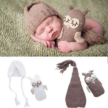 Newborn Baby Girls Boys Photography Prop Photo Owl Hat Set Crochet Knit Outfits