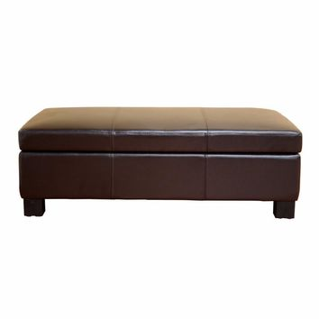 Gallo Dark Brown Leather Storage Ottoman By Baxton Studio