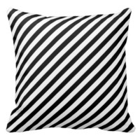 Black And White Striped Decorative Throw Pillows