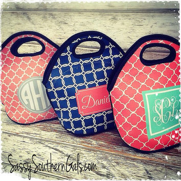 Customized / Monogrammed Lunch Tote , Lunchbox