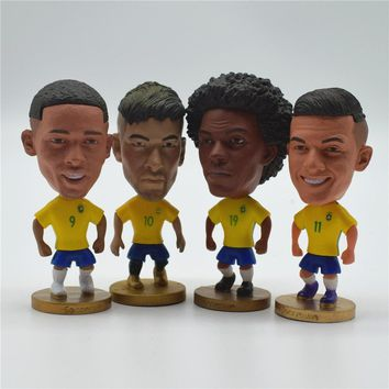 Soccerwe Soccer Star Dolls Brazil Player Figurine Neymar Coutinho Willian Jesus Puppets Toy for 2018 Cup Gift
