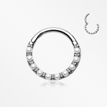 Brilliant Pearlescent Front Clicker Hoop Ring