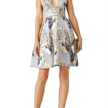 Marchesa Notte Metallic Floral Cocktail Dress