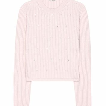 Embellished knitted cashmere sweater