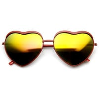 Women's Cute Heart Shape Mirrored Lens Sunglasses 9405