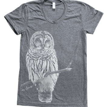 Owl Shirt Women Hand Screen Printed on American Apparel Tri-Blend Short Sleeve Tshirt Available: S , M , L , XL