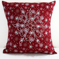 Small Christmas cushion cover, hand embroidered snowflake 12 inch pillow cover , festive holiday decor uk seller