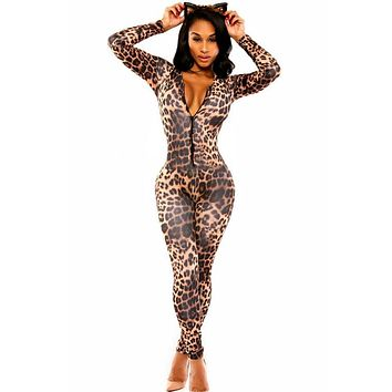 DL6961 Bodysuit women Autumn Bodycon Jumpsuit Overalls V neck Leopard print catsuit  jumpsuit plus size bodysuits women romper