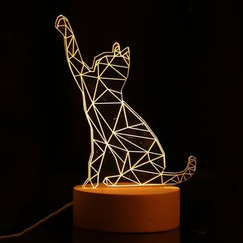 3D Cat LED Night Light USB Charging Indoor Decoration Lamp - Nightlight With Wooden Base