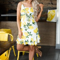 Squeeze The Day Lemon Print Dress (Off White)