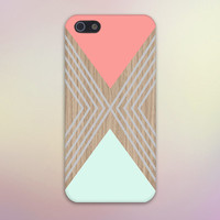 Salmon Pink x Turquoise Triangles x Wood Design Case for iPhone 6 6 Plus iPhone 5 5s 5c iPhone 4 4s Samsung Galaxy s5 s4 & s3 and Note 4 3 2