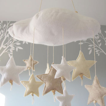 Cloud and Stars felt mobile. A soft, serene and dreamy object for a baby or child's room. White, Antique White and Sandstone.