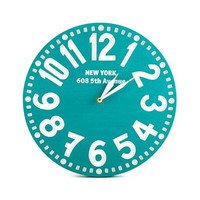 Clock -New York- faux vintage birch clock hand painted sea green personalized Names address