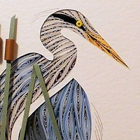 Quilled Blue Heron Turned handcrafted and custom framed wall art | QuillingbySandraWhite - Housewares on ArtFire