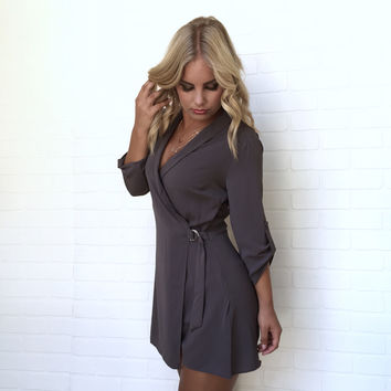Instant Chic Wrap Romper In Smoke Grey