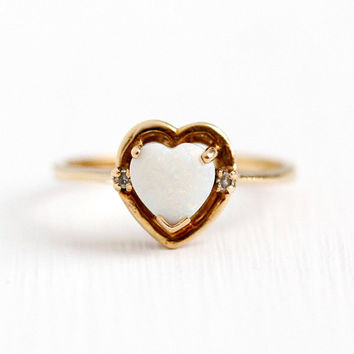 Vintage Opal Ring - 10k Rosy Yellow Gold Genuine White Opal & Diamond Fine Jewelry - Size 5 3/4 Romantic Heart Cut 1970s Retro Gift For Her