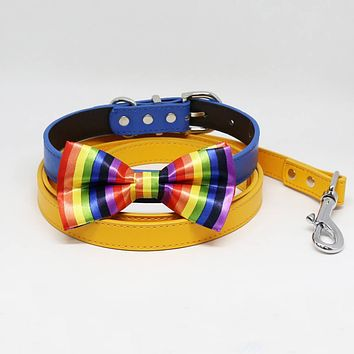 Rainbow Bow tie Collar Citrus Leash, Handmade, Puppy Gift, Dogs wedding, Pet accessory