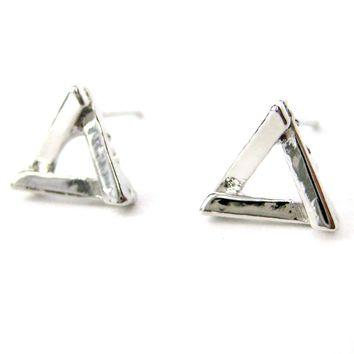 Small Geometric Triangular Stud Earrings in Silver | DOTOLY