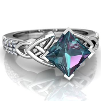 Exquisite Jewelry 925 Sterling Silver Ring Princess Cut 3.08CT Synthetic Mystic Rainbow Topaz Proposal GIft Engagement Party Rin