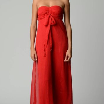 Lurex Chiffon Strapless Lined Maxi Dress